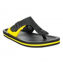 Cefiro Black Yellow Slipper Omega for Men - CSP0029